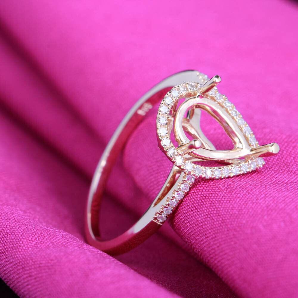 10K Yellow Gold Ring Engagement Wedding Semi Mount 10x6mm Pear Cut ...