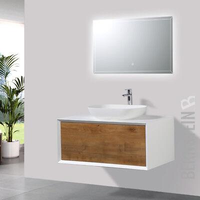Badmöbel 90 cm Eiche LED Spiegel Aufsatzwaschbecken Unterschrank Waschtisch