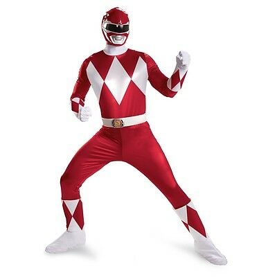 Adult TV Show Mighty Morphin Power Rangers Red Ranger Super Deluxe Fight Costume - White Mighty Morphin Power Ranger Costumes Adults