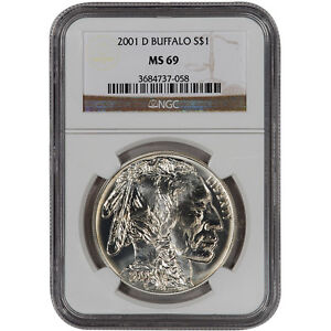 2001-D US American Buffalo Commemorative BU Silver Dollar - NGC MS69