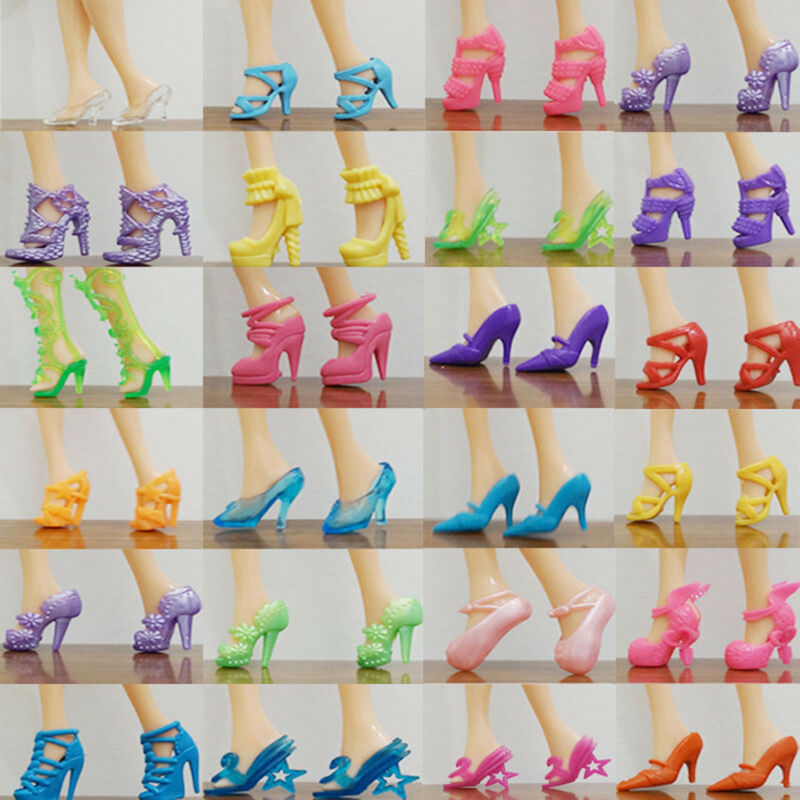 80pcs/40Pairs Different High Heel Shoes Boots For Barbie Dolls Clothes Random