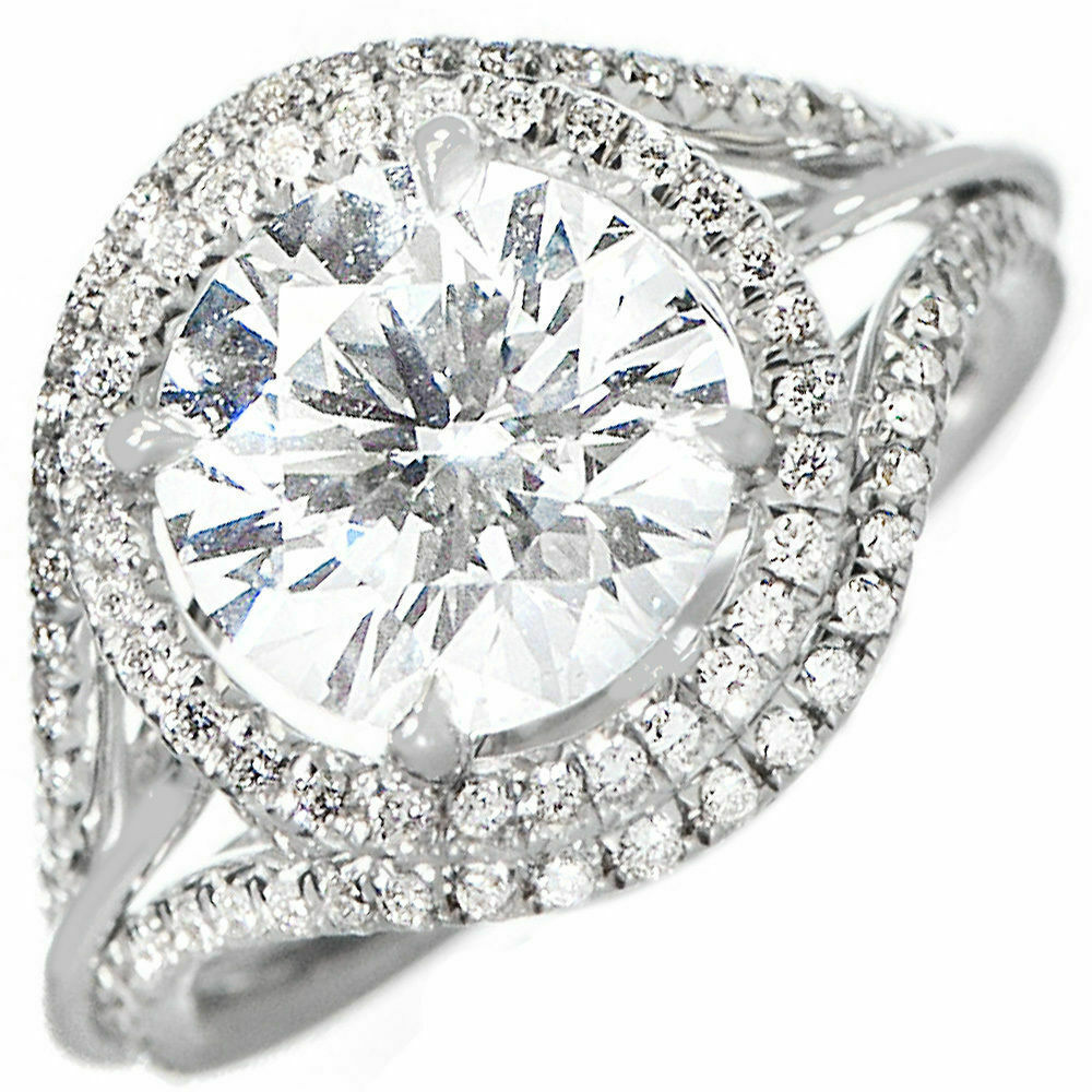 Platinum Diamond GIA Certified Round Cut Halo Engagement Ring VVS2 5.68 carat