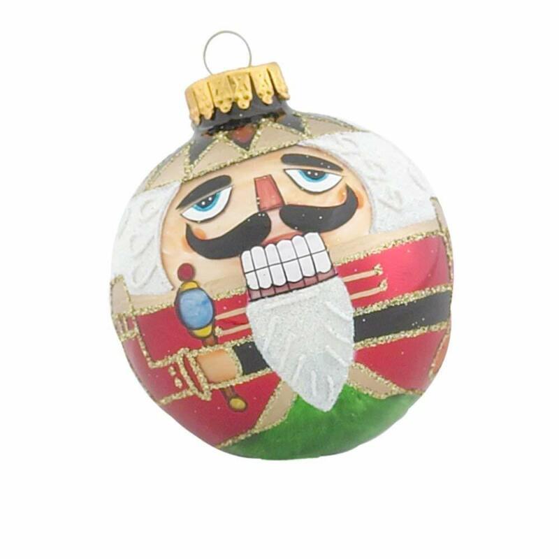 Nutcracker Design Ball Glass Christmas Ornament 4 Piece Set