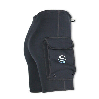 - 3mm Neoprene Wetsuit Tech Short Surf Snorkeling Scuba Diving Pocket Pant Black