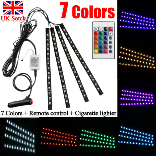 Car Parts - 4x 12LED RGB Car Interior Atmosphere Footwell Strip Light USB Charger Decor Lamp