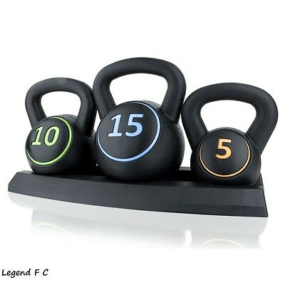 3PC Vinyl Kettlebell Weight Set & Stand  Fitness/Strength  Gym  Training Home