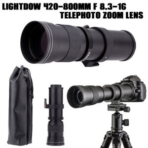 Lightdow 420-800mm F/8.3-16 Telephoto Manual Zoom Lens for Camera Nikon DSLR