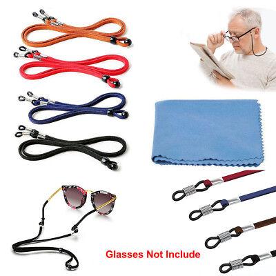4x Sunglass Retainer Neck Strap PU Glasses Eyeglass Antiskid Rope + Clean Cloth