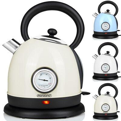 monzana® Wasserkocher Teekocher Edelstahl Retro Design Kocher 1,8 Liter 2200W