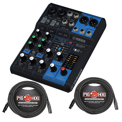 20 Channel Compact Mixer - Yamaha MG06X 6-Channel Compact SPX Digital Effects Mixer w/ 20 ft XLR Cables