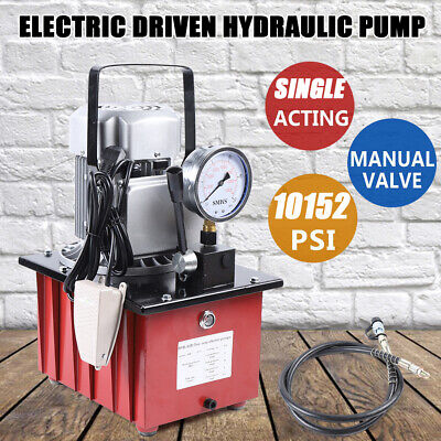 Electric Driven Hydraulic Pump 10000 Psi Single Acting Manual Valve 750w 7l