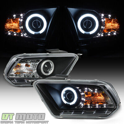 - Blk 2010 2011 2012 2013 Ford Mustang LED DRL CCFL Projector Headlights Headlamps