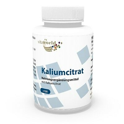Vita World Kaliumcitrat 605mg 120 Vegi Kapseln Kalium Citrat Made in Germany - Citrat 120 Kapseln