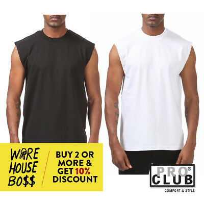 PROCLUB PRO CLUB MENS CASUAL SLEEVELESS T SHIRT PLAIN TANK TOP MUSCLE SHIRTS  - Muscle Shirts Mens