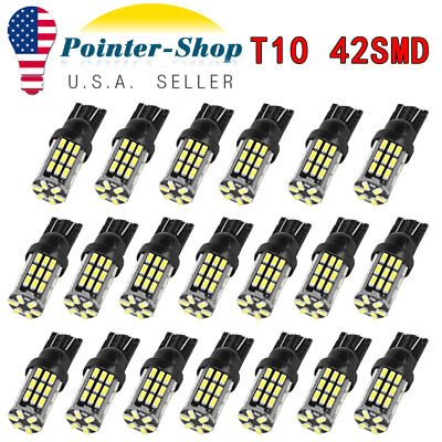 20x Pure White T10 42-SMD 3014 LED Interior License Map Dome Light Bulbs 912 921