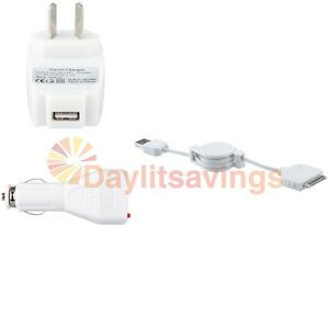 USB Car+AC Wall Charger+Cable For iPhone 4 4G 4S 3GS 3G iPod Touch Nano Classic