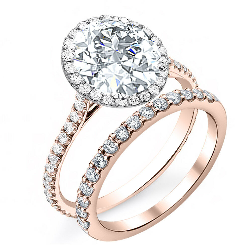 2.40ctw Natural Round Cut Halo Pave Diamond Engagement Bridal Set - GIA Cert 2