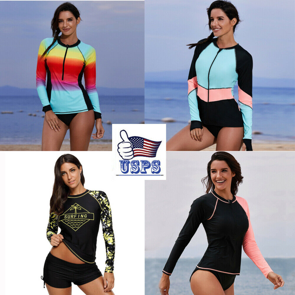 Women Long/Short Sleeve UV Sun Protect UPF 50+ Rash Guard To