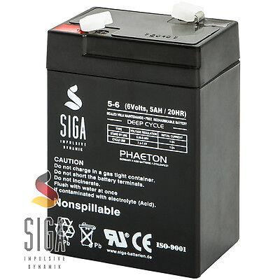 Blei Akku 6V 5AH AGM GEL Batterie USV ersetzt 4,5Ah 4Ah 6Volt LC-R064R5P Battery