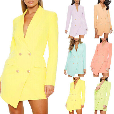 Women Gold Button Double Breasted Duster Coat Ladies Jacket Blazer Plus Size Breasted Polyester Women Coat