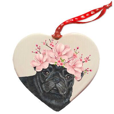 Pug Black Pug Dog Porcelain Floral Heart Shaped Ornament Décor Pet Gift](Pug Decor)