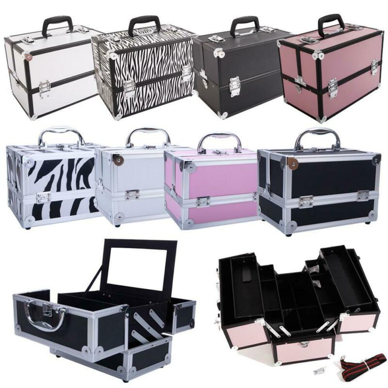 "9""/14"" Handle Aluminum Makeup Train Case Jewelry Box Cosmetic Organizer Storage"