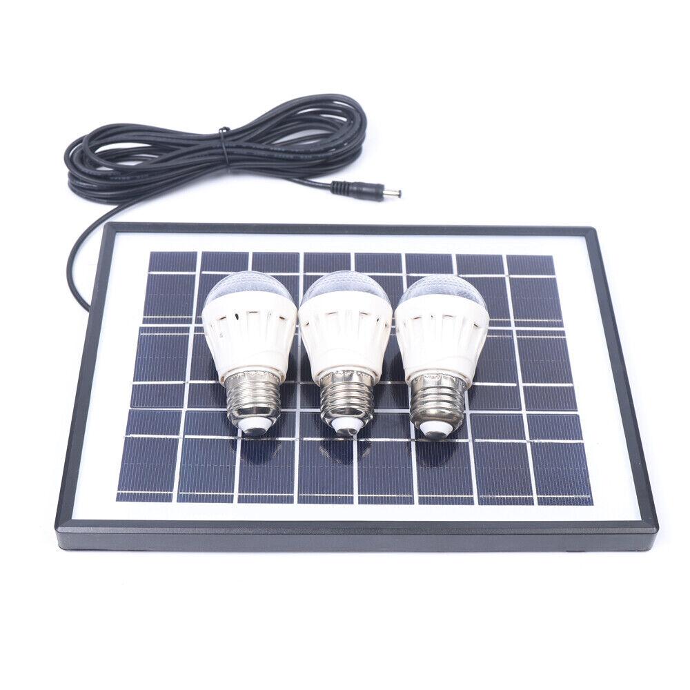 Solar Power Panel Generator Energy Storage USB Charger System Kit+3 LED Light US 8
