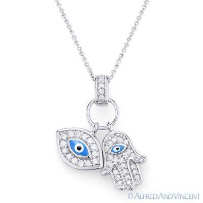 - Evil Eye Hamsa Hand of Fatima Judaica Kabbalah Charm Pendant 925 Silver Necklace