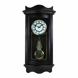 Bedford Weathered Chocolate Cherry Wood 25  Grandfather Wall Clock w/4 Chimes