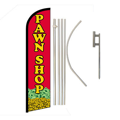 Pawn Shop Full Curve Swooper Windless Advertising Flag Cash For Jewelery