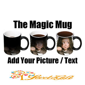 PERSONALISED MAGIC Colour HEAT CHANGE MUG GIFT ANY IMAGE TEXT DESIGN PICTURE