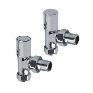 15mm Angled Rad Towel Rail Radiator Valves & Lockshield Chrome Brass 1/2