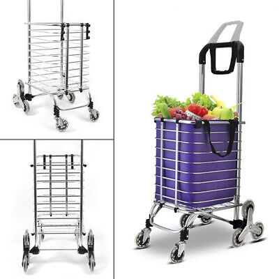 Foldable Shopping Cart Trolley Cart Climbing Push Transport Delivery Cart Basket
