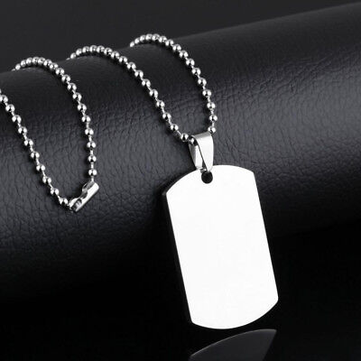 Punk Mens Silver Stainless Steel Necklace Army ID Dog Tag Military Pendant Chain Mens Dog Tag Chains