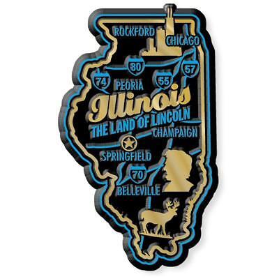 Illinois the Land of Lincoln Premium State Map Fridge Magnet