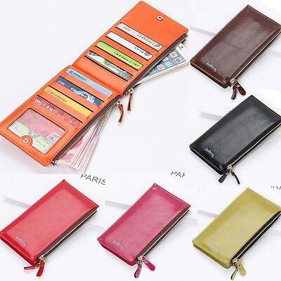 Women's Bifold Leather Credit Card Holder Clutch Wallet Purse Checkbook Handbag