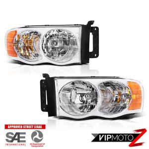 02-05 Dodge Ram 1500 2500 3500 Chrome Replacement Lamp Headlight L+R Side Pair