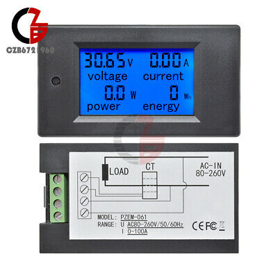 Dc 0-100a Lcd Combo Meter Voltage Current Watt Car Battery Pannel Power Monitor