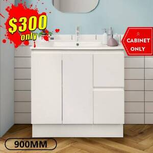 Bathroom Vanity 900mm Freestanding Cabinet Finger Pull LUCA *NEW*