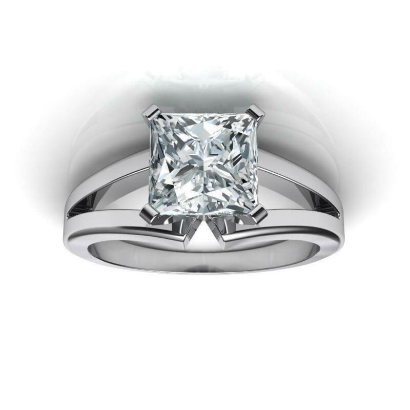 1/2 Ct Wedding Real Diamond Princess Square Ring 14 Karat White Gold Size 7 8 9