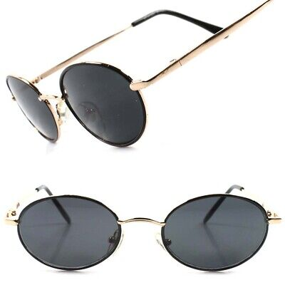 Classic Indie Retro Fashion Gold Mens Womens Hip Vintage Round Oval (Indie Sunglasses)