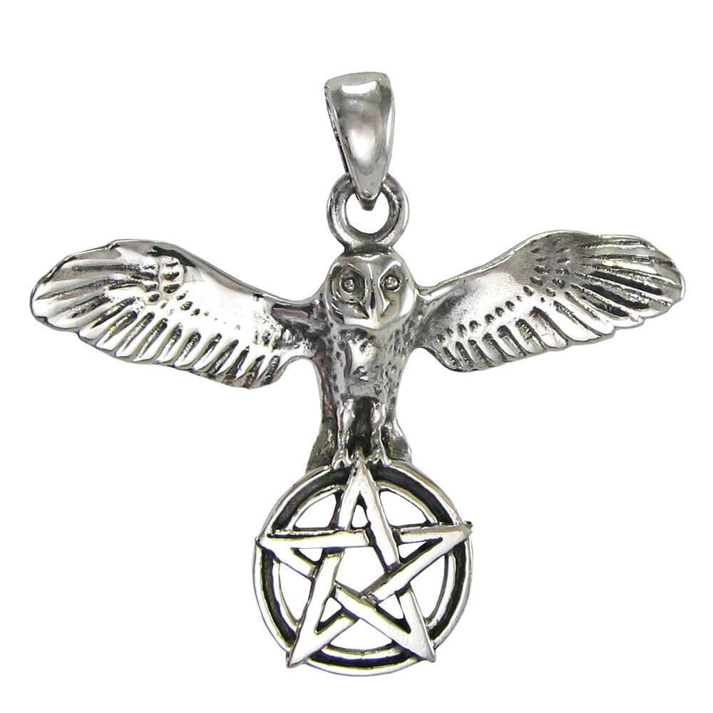 sterling silver owl pentacle of wisdom pendant wiccan