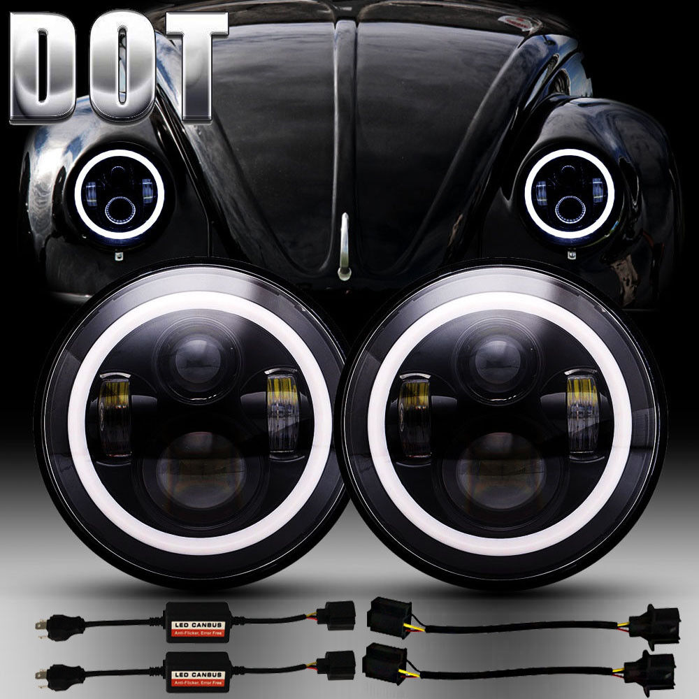 Details About Vw Beetle Clic Dot 7 Inch Led Headlights Upgrade Hi Low Beam Round Kit Cree
