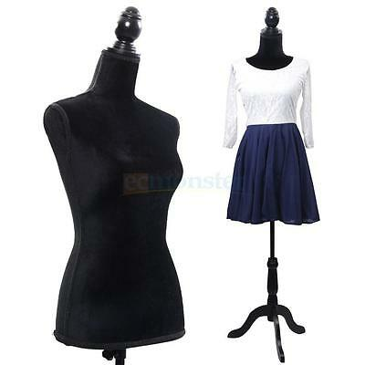 Black Female Mannequin Torso Dress Form Display W/ Black Tripod Stand Tailor