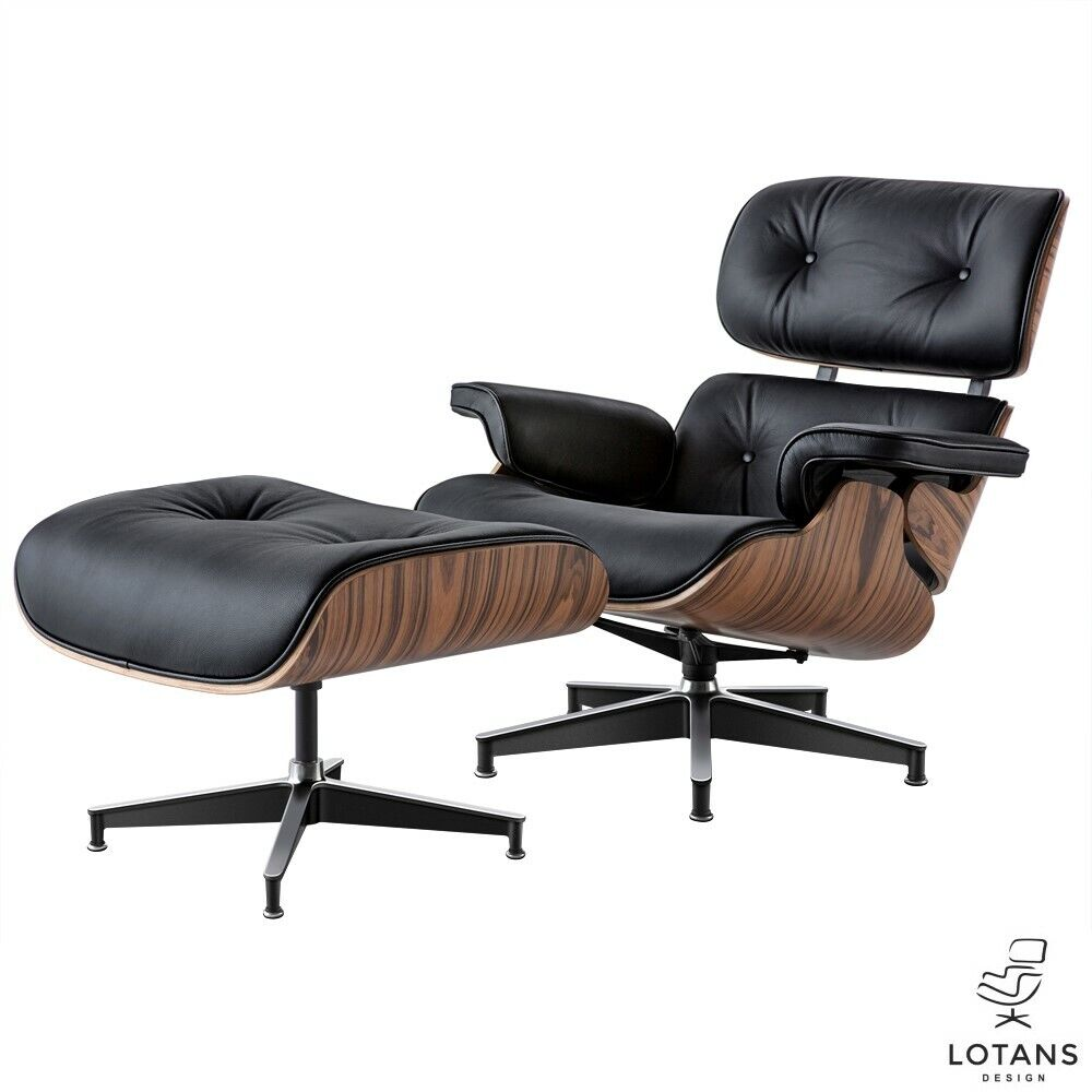 Eames Style Black Leather With Palisander Wood Lounge Chair Ottoman By Lotans - $1,080.00