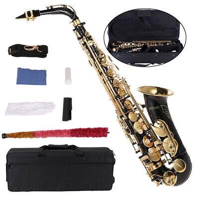ammoon Eb Alto Saxophone Brass Lacquered Gold E Flat Sax 82Z Key Type with Case - Flat Alto Saxophone