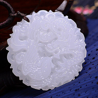 1Pc White 100% Natural Hand-carved Chinese Jade Pendant - Dragon Phoenix Natural