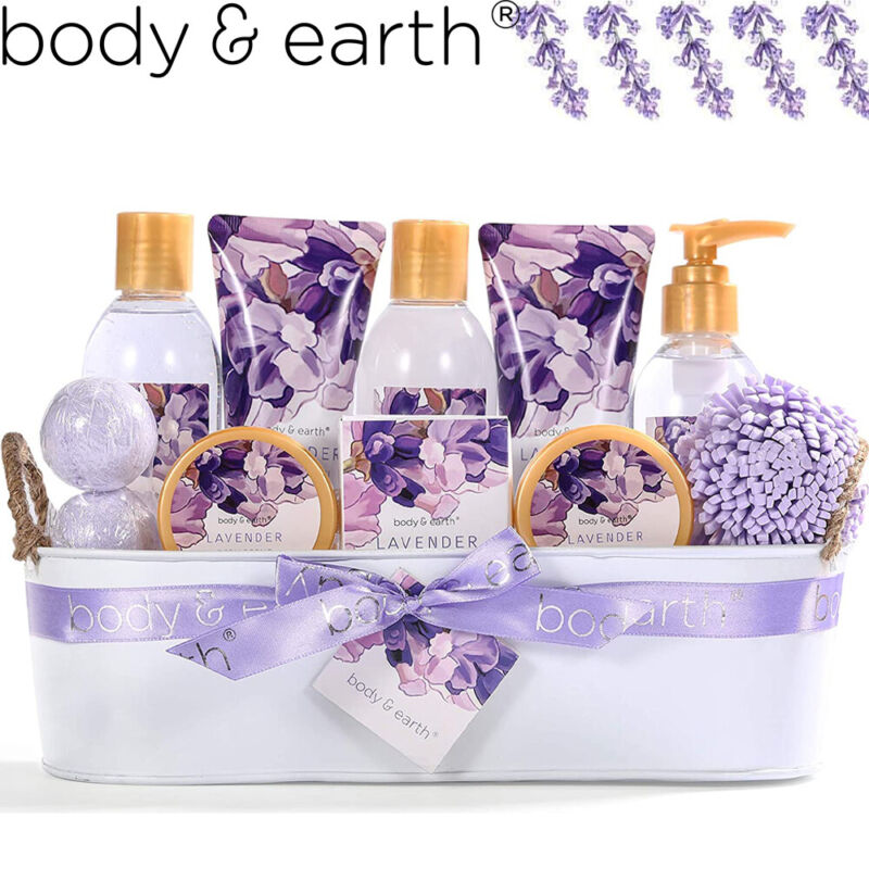 12 Pcs Lavender Spa Gift Basket for Women, Home Bath and Body Gift Set for Her