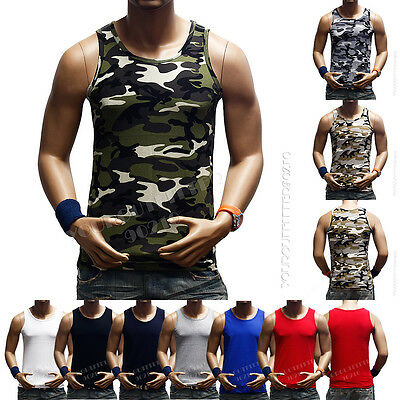 Men's Fashion Tank Top Sleeveless T-Shirt Muscle Camo  A-Shirt GYM Bodybuilding