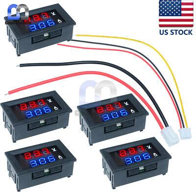 5pcs Dc 100v 10a Digital Mini Voltmeter Ammeter Blue Red Led Volt Amp Meter